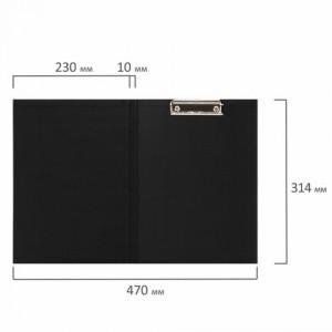 """Папка-планшет STAFF """"EVERYDAY"""", А4 (230х314 мм), с прижимом и крышкой, картон/бумвинил черная"""