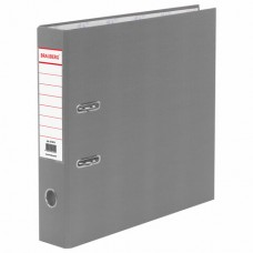 Папка-регистратор BRAUBERG с покрытием из ПВХ, 70 мм, серая (удвоенный срок службы)