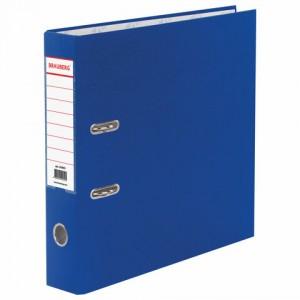 Папка-регистратор BRAUBERG с покрытием из ПВХ, 70 мм, синяя (удвоенный срок службы)