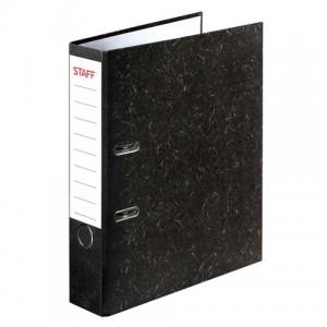 """Папка-регистратор STAFF """"Бюджет"""" с мраморным покрытием, 50 мм, без уголка, черный корешок"""