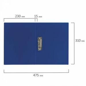 Папка с боковым металлическим прижимом STAFF, синяя, до 100 листов, 0,5 мм