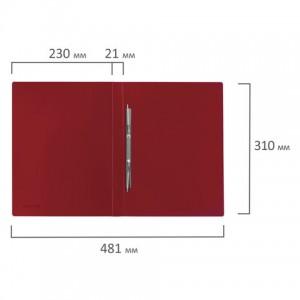 Папка с металлическим скоросшивателем BRAUBERG стандарт, красная, до 100 листов, 0,6 мм