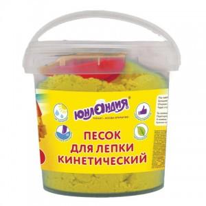 Песок для лепки кинетический ЮНЛАНДИЯ, желтый, 500 г, 2 формочки, ведерко