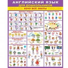 """Плакат обучающий, 505 мм * 697 мм, """"Английский язык для дошкольников"""", Мир Открыток, картон"""