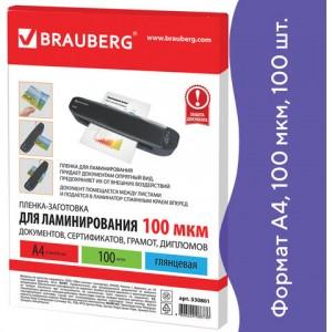 Пленки-заготовки для ламинирования А4, КОМПЛЕКТ 100 шт., 100 мкм, BRAUBERG