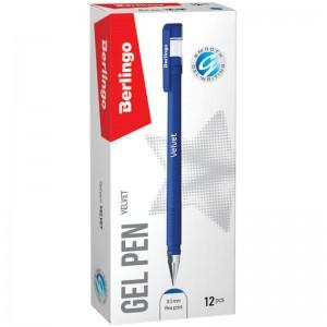 """Ручка гелевая Berlingo """"Velvet"""" синяя, 0,5мм, прорезиненный корпус"""