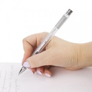 "Ручка гелевая BRAUBERG ""Jet"", СЕРЕБРИСТАЯ, узел 0,5 мм, линия письма 0,35 мм"