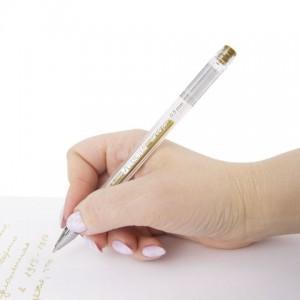 """Ручка гелевая BRAUBERG """"Jet"""", ЗОЛОТИСТАЯ, корпус прозрачный, узел 0,5 мм, линия письма 0,35 мм"""