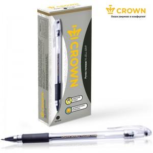 """Ручка гелевая Crown """"Hi-Jell Grip"""" черная, 0,5мм, грип"""