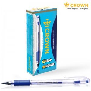 "Ручка гелевая Crown ""Hi-Jell Grip"" синяя, 0,5мм, грип"