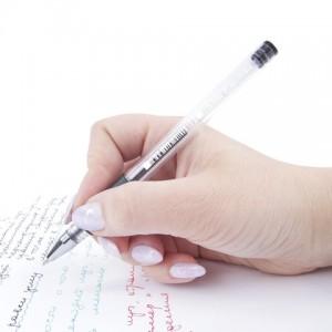 Ручка гелевая с грипом STAFF, ЧЕРНАЯ, корпус прозрачный, узел 0,5 мм, линия письма 0,35 мм