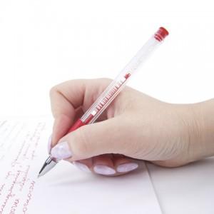"""Ручка гелевая с грипом STAFF """"EVERYDAY"""", КРАСНАЯ, корпус прозрачный, узел 0,5 мм, линия письма 0,35"""