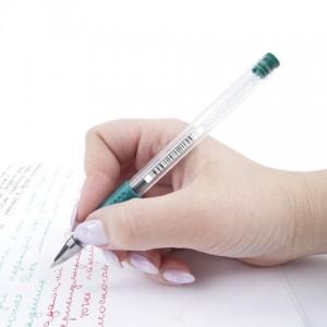 Ручка гелевая с грипом STAFF, ЗЕЛЕНАЯ, корпус прозрачный, узел 0,5 мм, линия письма 0,35 мм
