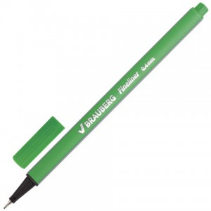 "Ручка капиллярная BRAUBERG ""Aero"", СВЕТЛО-ЗЕЛЕНАЯ, трехгранная, линия письма 0,4 мм"