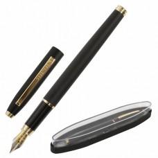 """Ручка подарочная перьевая BRAUBERG """"Brioso"""", СИНЯЯ, корпус черный с золотистыми деталями, линия письма 0,25 мм"""