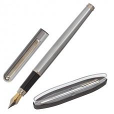 """Ручка подарочная перьевая BRAUBERG """"Larghetto"""", СИНЯЯ, корпус серебристый с хромированными деталями, линия письма 0,25 мм"""