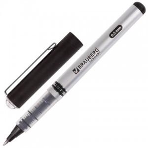 """Ручка-роллер BRAUBERG """"Flagman"""", ЧЕРНАЯ, корпус серебристый, пишущий узел 0,5 мм, линия письма 0,3 м"""