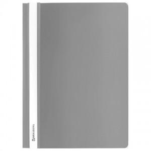 Скоросшиватель пластиковый BRAUBERG, А4, 130/180 мкм, серый