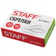 Скрепки STAFF, 28 мм, металлические, 100 шт.