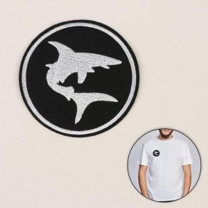 Термоаппликация «Акула», d = 7,9 см, цвет чёрный/белый