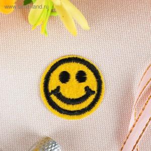 """Термоаппликация """"Смайлик"""", d=3,2см, цвет жёлтый"""