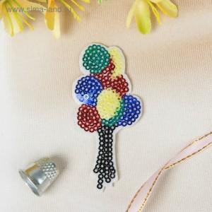 """Термоаппликация """"Воздушные шары"""", с пайетками, 8,5*4см, разноцветная"""