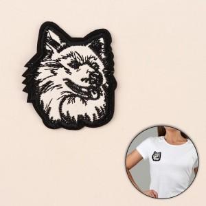 Термоаппликация «Волк», 7 × 6 см, цвет чёрно-белый