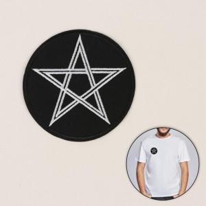 Термоаппликация «Звезда», d = 7,9 см, цвет чёрный/белый