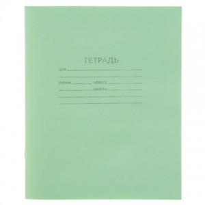 Тетрадь 24л. клетка, офсет №1, Бло-офсет № 1 пл. 58-63 гр/м2, бел 90%, Обложка-зеленая, 80 гр/м2