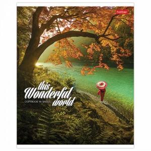 """Тетрадь А5 96 л. HATBER скоба, линия, обложка картон, """"Удивительный мир"""" (5 видов)"""