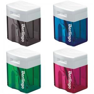 Точилка пластиковая Berlingo Perfect, 1 отверстие, контейнер, ассорти