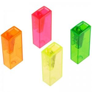 Точилка пластиковая Faber-Castell, 1 отверстие, контейнер, ассорти, флуоресцентные цвета