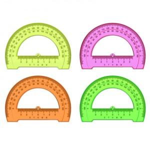 """Транспортир 12 см, 180*, Стамм """"Neon Cristal"""", пластик, отливная шкала, флуоресцентный"""