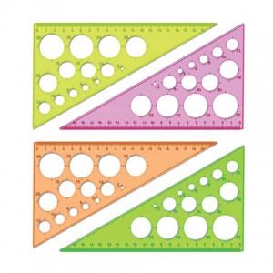 Треугольник 19 см 30* «Стамм» NEON Cristal, с окружностями, отливная шкала, микс