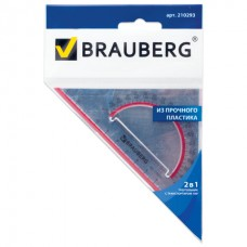 """Треугольник пластиковый, угол 45, 13 см, BRAUBERG """"Crystal"""", с транспортиром, прозрачный, с выделенной шкалой"""