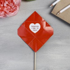 Валентинка на ножке «Романтичный единорог»