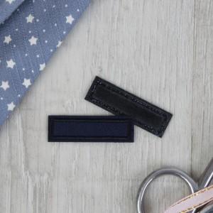 Заплатка для одежды «Прямоугольник», 4,2 × 1 см, термоклеевая, цвет тёмно-синий
