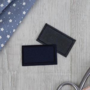 Заплатка для одежды «Прямоугольник», 4,5 × 2,5 см, термоклеевая, цвет тёмно-синий