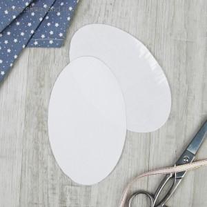 Заплатки для одежды, овальные, 15,5 х 9,5см, термоклеевые, текстильные, цвет белый