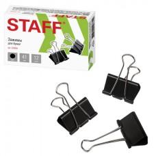 """Зажимы для бумаг STAFF"""" EVERYDAY"""", КОМПЛЕКТ 12 шт., 41 мм, 200 листов, черные, картонная коробка"""